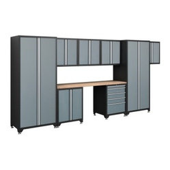 NewAge Products Pro Series Cabinetry 15 ft.-4 in. System: 9 Piece Set - Grey - Big mess? No ...