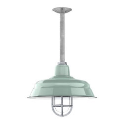 Barn Light Electric - Benjamin® Bomber Porcelain Stem Light - With the Benjamin™ Bomber, you'll be able to fully customize the length of the stem plus choose one of nine gorgeous and durable porcelain finish colors! Stem mount light fixtures are best suited for outdoor areas that might be subject to rain, snow, or winds as the brushed aluminum stem will keep all interior wiring safe and dry. And the tough yet shiny porcelain enamel coating will withstand decades of use no matter what Mother Nature dishes out. For a complementary look, check out the Goodrich™ Bomber Porcelain Gooseneck Light.