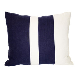 Acapillow - Pieced Stripe Pillow - Broadly striped and bursting with style, this striking pillow is a dapper detail for your decor. Wrapped in crisp blue and white and filled with fluffy down feathers, it's perfectly polished and super soft.