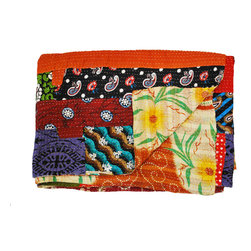 Modelli Creations - One of a Kind Vintage Sari Kantha Throw Patchwork Quilt - This vibrant and colorful vintage sari kantha throw instantly brightens and refreshes your space. Meticulously handcrafted by skilled artisans in India, each quilt is one of a kind and like no other. Drape it over a chair for a bold touch or use as a unique bed spread.