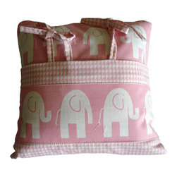"WingBack - Elephants on Parade Pillow - Elephants on Parade pillow with houndstooth accent pocket handcrafted using Premier Prints cotton duck fabric.  This pillow was constructed with a 14"" poly pillow form.  The pink houndstooth pocket is removable.  This is a part of the Elephants on Parade Collection."