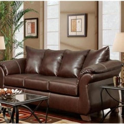 Chelsea Home Payton Leather Sofa - Taos Mahogany - Presented in a rich dark brown leather this Chelsea Home Payton Leather Sofa - Taos Mahogony makes the perfect new addition to any living room or basement den. Ideal for family gatherings such as holidays and birthdays or as a spot to meet with friends to watch the big game this sofa easily seats three people on cushions that together measure nearly 90 inches across. Those cushions upholstered in the same bonded leather as the rest of the couch were constructed from 1.8 density foam that was combined with sinuous wire spring system that form a perfect match of comfort and support. In other words and depending on the occasion this couch is just as suitable for an afternoon nap as it might be for one of the aforementioned gatherings. In addition to its innovative construction the traditionally styled sofa also contains some old world Victorian flair as the upholstered frame rises up on the sides to form front-facing curved armrests giving your room both style and substance. The seat cushions offer a spacious 38 inches of depth and the sofa itself measures 41 inches tall. About Chelsea Home FurnitureProviding home elegance in upholstery products such as recliners stationary upholstery leather and accent furniture including chairs chaises and benches is the most important part of Chelsea Home Furniture's operations. Bringing high quality classic and traditional designs that remain fresh for generations to customers' homes is no burden but a love for hospitality and home beauty. The majority of Chelsea Home Furniture's products are made in the USA while all are sought after throughout the industry and will remain a staple in home furnishings.