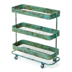 Go Home - Go Home Lab Cart - This mobile lab cart from our vintage furniture collection will serve many different purposes and look very cool as well. Made up of durable quality iron, it has a hand painted finish.