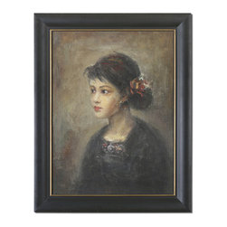 Uttermost - Young Serenity Girl Framed Art - This artwork is hand painted on burlap and applied to a wooden backboard. Frame has a distressed, black basecoat with medium brown distressing and a light gray wash. Frame's inner lip is antique gold.