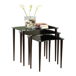 Monarch Specialties - Monarch Specialties 3011 3-Piece Black Glass Nesting Table Set in Cappuccino - This three piece nesting table set blends contemporary and simplicity in one modern look. The black tinted glass tops paired with deep cappuccino wood legs with a hint of silver accents are perfect to use as end tables, or to simply display you favorite accent pieces.