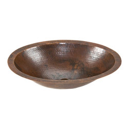 Premier Copper Products - Premier Copper Products LO17FDB Small Oval Under Counter Hammered Copper Sink - Uncompromising quality, beauty, and functionality make up this Premier Small Oval Under Counter Hammered Copper Bathroom Sink. Perfect for a Powder Room or Small Vanity.