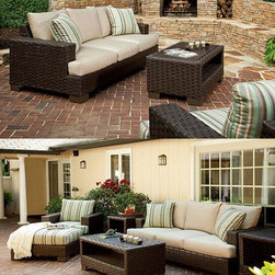 Braxton Culler: Westhampton (Outdoor) / Bali (Indoor): - For beautiful style indoor or out, look no further than these two collections.  The Westhampton is hand crafted from resin weaves and extruded resin materials in Espresso finish, making them totally weatherproof.  E-Z-Dri grommets are installed in the cushions, allowing them to dry out quickly...  Plus, the choices of all weather fabrics are tremendous.