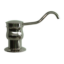 Hook Style Soap or Lotion Dispenser for Thick Countertops - Bring convenience to your kitchen counter with the Hook Style Soap or Lotion Dispenser, created for thick counter tops. Able to hold 12 ounces of your favorite lotion or liquid soap, this dispenser features a solid brass pump and a classic hook-shaped spout.