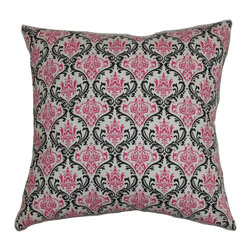 "The Pillow Collection - Paulomi Damask Pillow Black Pink - The lovely damask pattern which adorns this accent pillow brings a sophisticated twist touch to your interiors. This square pillow features a striking color palette in shades of pink, black and white. Toss this decor pillow anywhere inside your home to add a lavish detail. Combine other patterns like floral, toile and solids to complement this 18"" pillow. Made of 100% high-quality cotton fabric. Hidden zipper closure for easy cover removal.  Knife edge finish on all four sides.  Reversible pillow with the same fabric on the back side.  Spot cleaning suggested."
