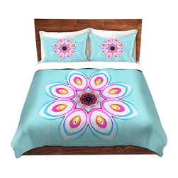 DiaNoche Designs - Duvet Cover Twill - Caribbean Summer Flower I - Lightweight and soft brushed twill Duvet Cover sizes Twin, Queen, King.  SHAMS NOT INCLUDED.  This duvet is designed to wash upon arrival for maximum softness.   Each duvet starts by looming the fabric and cutting to the size ordered.  The Image is printed and your Duvet Cover is meticulously sewn together with ties in each corner and a concealed zip closure.  All in the USA!!  Poly top with a Cotton Poly underside.  Dye Sublimation printing permanently adheres the ink to the material for long life and durability. Printed top, cream colored bottom, Machine Washable, Product may vary slightly from image.