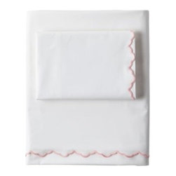 Serena & Lily - Scallop Sheet Set Shell - Edged in the softest shell pink, our cloud-white bedding is one of those tried-and-true basics that goes with anything. Scallop detailing brings a sweet vintage vibe.