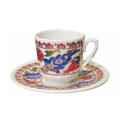 "Gural - Gold Accented Turkish Coffee Cup and Saucer Set - Serve Turkish coffee or espresso in fine dining style with this vibrant coffee cup set.  Turkish floral pattern in bright reds, blue and green against a creamy white porcelain background.  Gold accents define the pattern and add shine and elegance.  Set includes six (6) Turkish coffee cups and six (6) matching saucers. Coffee cups hold 2.5 ounces and are about 2/14"" tall; Saucers are about 4-1/2"" diameter"