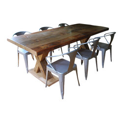 "Urban Wood Goods - X Beam Reclaimed Wood Pedestal Dining Table - Planks of recycled old growth douglas fir from century-old buildings and barns located in the Midwestern USA are carefully selected and crafted by hand. The character filled wood tops are supported by a pair of one of a kind ""X beam"" Pedestal Legs that once supported barns, and buildings that were built prior to the 1920's. A modern rustic beauty."