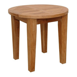 Anderson Teak - Brianna 20 in. Round Mini Side Table - Unfinished - The attractively styled distressed Teak Wood Outdoor End Table stands 18 inches high on tapered legs.  This beautiful, decay resistant outdoor table is crafted of natural, golden toned Teak wood and features a 20 inch diameter round top.  Perch your drink, dish or more on this round table.  A great accent to most benches, sofas, gliders and more, this accent creates a simple solution to piecing your backyard into a hip and happening place.  Set those out-of-print books on your simple, casual, rich old-American Round Solid Teak Wood End Table meticulously crafted and designed to bring a cozy, welcoming appeal to your home's décor now and for generations to come. * Round in shape. Strong enough to sit on. Perfect for snack or functional table. Teak wood construction. Match with other Brianna Collections. Minimal assembly required. 20 in. Dia. x 15.5 in. H (20 lbs.)The Brianna 20 in. Round Side Table is the perfect addition for your patio. This mini side table is simple, straightforward and sturdy.