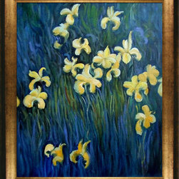 "overstockArt.com - Monet - Yellow Irises - 20"" X 24"" Oil Painting On Canvas Hand painted oil reproduction of a famous Monet painting, Yellow Irises. The original masterpiece was created in 1918-25. Today it has been carefully recreated detail-by-detail, color-by-color to near perfection. The floral theme of this impressionistic piece exemplifies the essence of springtime with a delicate beauty that no print can capture. Why settle for a print when you can add sophistication to your rooms with a beautiful fine gallery reproduction oil painting? While Monet successfully captured life's reality in many of his works, his aim was to analyze the ever-changing nature of color and light. Known as the classic Impressionist, Monet cannot help but inspire deep admiration for his talent in those who view his work. This work of art has the same emotions and beauty as the original. Why not grace your home with this reproduced masterpiece? It is sure to bring many admirers!"