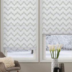 Waverly Roman Shades - Waverly Airwaves Roman Shades elegant and simple chevron pattern allows you to create your own unique decor. Waverly Airwaves roman shades are available in light filtering fabric and room darkening fabric, choose flat fold option for a classic look or the looped fold option for an elegant appeal.
