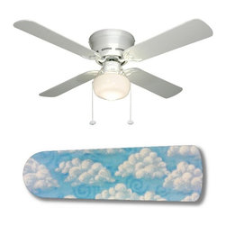 """Cloud Nine 42"""" Ceiling Fan and Lamp - 42-inch 4-blade ceiling fan with a dome lamp kit that comes with custom blades. It has a white flushmount fan base. It has an energy efficient 3-speed reversible airflow motor for year long comfort. It comes with complete installation/assembly instructions. The blades can be cleaned with a damp cloth. It is made with eco-friendly/non-toxic products. This is brand new and shipped in the original box. This is not a licensed product, but is made with fully licensed products. Note: Fan comes with custom blades only."""