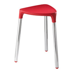 Gedy - Red Faux Leather Stool - Stylish, unique stool made of red faux leather and steel.