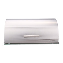Berghoff - Berghoff Studio Glass Base Bread Bin - Stylish stainless steel bread bin with glass base.