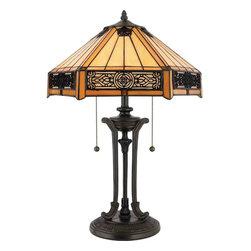 Quoizel Lighting - Quoizel TF6669VB Indus Tiffany Vintage Bronze Table Lamp - 2, 60W A19 Medium