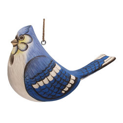 Songbird Essentials - Fat Blue Jay Birdhouse - Songbird Essentials adds color and whimsy to any garden with our beautifully detailed wooden birdhouses that come ready to hang under the canopy of your trees. Hand-carved from albesia wood, a renewable resource, each birdhouse is hand painted with non-toxic paints and coated with polyurethane to protect them from the elements. By using all natural and nontoxic components Songbird Essentials has created a safe environment complete with clean-out for our feathered friends.