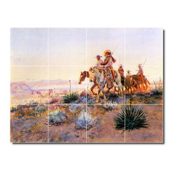 Picture-Tiles, LLC - Mexican Buffalo Hunters Tile Mural By Charles Russell - * MURAL SIZE: 36x48 inch tile mural using (12) 12x12 ceramic tiles-satin finish.