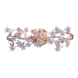 "Crystorama - Crystal Flower and Vine 25"" Wide Gold Bathroom Light Fixture - A romantic swirl of clear cut crystal flowers and vines makes this bathroom light fixture a perfect accent piece to enliven bathrooms. Features a Gold-Straw-Applewood finish with intricate leaf designs. Make a statement with this decorative light. Takes three 60 watt bulbs (not included). Measures 25"" wide 10"" high. Extends 6"" from the wall.  Gold-straw applewood finish.  Takes three 60 watt bulbs (not included).  25"" wide.  10"" high.   Extends 6"" from the wall."