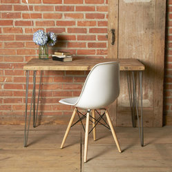 Down On The Farm Wood Desk - This elegant, handcrafted desk is made of mid-century wood and supported on beautiful hairpin legs made from steel. Built from wood reclaimed from Midwestern homes, barns, and other buildings, we think it would make a wonderful addition to any home office.