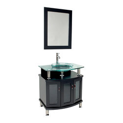 "Fresca - Fresca Contento 30"" Espresso Vanity w/ Mirror - Dimensions of vanity:  29.5""W x 22.13""D x 33.75""H. Dimensions of mirror:  23.5""W x 31.38""H. Materials:  Solid wood frame, tempered glass countertop/sink. Single hole faucet mount. P-trap, faucet, pop-up drain and installation hardware included.  A lovely vanity that takes a contemporary twist on baroque furniture.  Little details such as slightly octangular shaped storage, cubby hole storage underneath the counter and basin, a clear glass basin and a wide mirror really make this ensemble great for those looking to not just update their bathroom, but keep it classic."