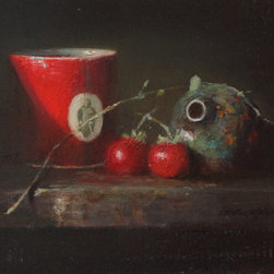 """""""Still Life In Red"""", Framed Oil Painting by M Kathryn Massey - Red creates a burst of color in this classical still life painting by M Kathryn Massey.  A statement piece for decors ranging from traditional to transitional to Asian, it was painted in the mid-Victorian-orientalist style.  The 12"""" x 16"""" oil on canvas is mounted in an 18"""" x 22"""" carved gilded frame with a 1"""" off-white linen liner.  The painting was exhibited at the Pasadena Museum of History in """"Contemporary Masters, Artistic Eden IV"""" from October 2014 - January 2015 and a tag from the Museum is affixed to the verso.  The artist signature appears on the mid-front right and on the verso."""