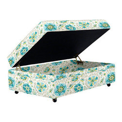 Graham Storage Ottoman, Aruba Turquoise - Another storage ottoman, this one could hold blankets, toys, or any other thing that you want kept hidden out of site.