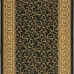 "Safavieh - Safavieh Courtyard CY6014-46 7'10"" Round Black, Natural Rug - Safavieh's Courtyard collection was created for today's indoor/outdoor lifestyle. These beautiful but practical rugs take outdoor decorating to the next level with new designs in fashion-forward colors and patterns from classic to contemporary. Made in Turkey with enhanced polypropylene for extra durability, Courtyard rugs are pre-coordinated to work together in related spaces inside or outside the home."