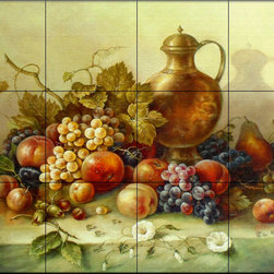 The Tile Mural Store (USA) - Tile Mural - Fruit Bouquet I - Kitchen Backsplash Ideas - This beautiful artwork by Corrado Pila has been digitally reproduced for tiles and depicts a painting of a colorful fruit mural with a vase.  Our kitchen tile murals are perfect to use as part of your kitchen backsplash tile project. Add interest to your kitchen backsplash wall with a decorative tile mural. If you are remodeling your kitchen or building a new home, install a tile mural above your stove top or install a tile mural above your sink. Adding a decorative tile mural to your backsplash is a wonderful idea and will liven up the space behind your cooktop or sink.