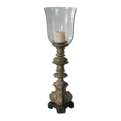 Elegant Acanthus Leaf Pillar Hurricane Candleholder - *Heavily distressed rust gray wash with silver, gold and black undertones.