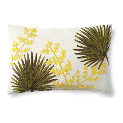 Grandin Road - Fan Plant Embroidered Jardin Pillow - Designer-inspired lumbar pillow embroidered with tropical leaves. Natural cotton ground and backing. Hidden zipper; down-filled insert included. Coordinates perfectly with our Embroidered Fretwork Lumbar Pillow. Add a welcome burst of color and texture to your seating with our embroidered Jardin lumbar pillow. This pillow features beautifully stitched tropical leaves that pop from a natural ground.  .  .  .  . Imported