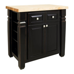 All Other Brands - Loft Kitchen Island by Jeffrey Alexander - Aged Black - HRI191 - Shop for Kitchen Islands from Hayneedle.com! Space is always an issue in a busy kitchen but the Loft Kitchen Island by Jeffrey Alexander - Aged Black is the perfect way to expand your culinary boundaries. Made of durable engineered wood and veneers this beauty is adorned with a lightly distressed aged black finish and crowned with a butcher-block top that offers the perfect space for cutting and chopping. Side shelves keep spices or other necessities close at hand. Need more storage? No problem. This island offers dual full-extension drawers for utensils or other kitchen items while lower cabinets open to reveal interior storage perfect for larger appliances pots or pans. Base dimensions: 34W x 22D inches. Overall dimensions: 36W x 24D x 36H inches.
