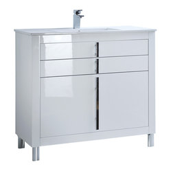 "Macral - 40"" Roma Bathroom Vanity, White - Roma Bathroom vanity with extra storage 40"" width ..."
