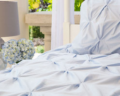 Crane & Canopy - Valencia Light Blue Sham - Euro - Combining soft tones with modern textures, The Valencia duvet gives a look that is full of volume and elegance. The Valencia light blue pintuck duvet cover in a soft blue will subtly bring your room to life.