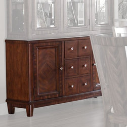 Somerton Dwelling - Somerton Dwelling Runway Buffet Multicolor - 140-72 - Shop for Buffets and Side Boards from Hayneedle.com! Perfect for traditional and contemporary dining rooms alike the Somerton Dwelling Runway Buffet provides convenient and beautiful storage options for your home. Built from rubberwood and poplar solids this buffet is sturdy and durable while its rich chestnut brown finish allows it to fit with a wide range of decors. The buffet top features a wrapped veneer that allows the wood grain pattern to flow over the edges without a seam. Prima Vera veneers form diamond patterns on the door panels and a reverse diamond pattern on the door fronts while a zebrano veneer creates a border around the door frames. Three spacious drawers and two cabinets (each with an adjustable shelf) give you ample room for linens silverware and other necessities. About Somerton Dwelling For over 20 years Somerton Dwelling has meant quality furniture and a quality company. Its warehouses and distribution centers located both in the United States and China provide environmentally friendly manufacturing locations as well as mindful employment spaces. Quality materials such as eco-friendly rubberwood solid wood and wood veneers are used to create Somerton Dwelling pieces ... and any Somerton Dwelling furnishing you choose will make a welcome stylish addition to your home.