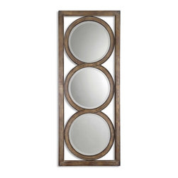 Uttermost - Uttermost Isandro Wall Mirror in Silver - Made of hand forged metal, this frame features and open design that allows wall color to show thru and is finished in silver undertones with a black-gray wash and burnished edges. Mirrors are beveled. May be hung either horizontal or vertical.