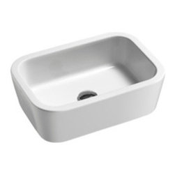 GSI - Sleek Ceramic Curved Vessel Bathroom Sink - Simple and sleek curved rectangular sink made in Italy by GSI. This above counter vessel sink is made out of high quality ceramic in a white finish. Sink comes without overflow and has no faucet holes.
