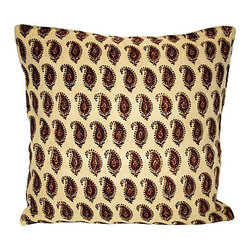 Acapillow - Paisley Pillow - Pretty in paisley! Vintage block-print fabric gives this oversized throw pillow relaxed character that will warm up your sofa or bedroom. The back is lined with creamy, camel-colored linen and features a shell button closure that makes removing the cover a snap anytime you need to freshen it up with a dry cleaning.