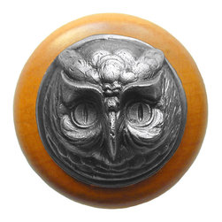 """Inviting Home - Wise Owl Maple Wood Knob (antique pewter) - Wise Owl Maple Wood Knob with hand-cast antique pewter insert; 1-1/2"""" diameter Product Specification: Made in the USA. Fine-art foundry hand-pours and hand finished hardware knobs and pulls using Old World methods. Lifetime guaranteed against flaws in craftsmanship. Exceptional clarity of details and depth of relief. All knobs and pulls are hand cast from solid fine pewter or solid bronze. The term antique refers to special methods of treating metal so there is contrast between relief and recessed areas. Knobs and Pulls are lacquered to protect the finish. Alternate finishes are available."""