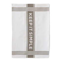 "Bambeco Keep it Simple Linen Tea Towel in Slate - Hand-printed with water-based inks on natural linen in the USA, the Keep it Simple Linen Tea Towel in Slate is the perfect kitchen accomplice. Bold slate-colored graphic on linen is a reminder to ""keep it simple"". The 100% linen fabric is sturdy, absorbent and becomes softer with each use. Use these towels to dry the dishes, cushion a bowl, protect your hands, wrap a gift or set a table. They're a natural, reusable and responsible alternative to paper.  Linen may be one of the oldest textiles in the world, dating back to approximately 8,000BC; it is the strongest of the vegetable fibers, smooth and lint free. Linen is highly absorbent and easily dyed; the color will not fade with washings.  Dimensions: 18""W x 26""L Care: Machine wash, tumble dry low."