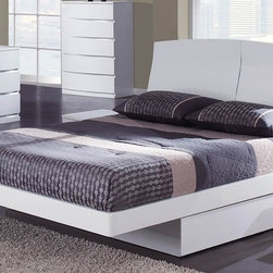 Global Furniture - Aria Platform Bed - White - 36109B - This platform bed is able to support a mattress without the use of a box spring, although can accommodate one if desired.