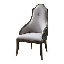 """Uttermost Sylvana Gray Accent Chair - Softly weathered, exposed pine wood frame is lightly washed in gray to blend with the silvery gray, faux leather back and neutral linen seat, beautifully accented with nickel nail trim, metal leg tips, and a polished nickel ring pull on the back. Softly weathered, exposed pine wood frame is lightly washed in gray to blend with the silvery gray, faux leather back and neutral linen seat, beautifully accented with nickel nail trim, metal leg tips, and a polished nickel ring pull on the back. Seat height is 18""""."""