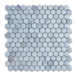 "Stone Center Corp - Calacatta Gold Marble Hexagon Mosaic Tile 1 inch Honed - Calacatta gold marble 1"" (from point to point) hexagon pieces mounted on 12"" x 12"" mesh tile sheet"