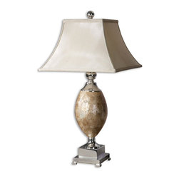 Uttermost - Mother Of Pearl Table Lamp - This Lamp Base Is Roasted, Mother Of Pearl With Silver Plated Metal Accents. The Square Bell Shade Is A Silkened Champagne Textile. Number Of Lights: 1, Shade: Square Bell Shade, Shade Size: Height: 12, Top: 9w X 9d, Bottom: 17w X 17d, Voltage: 110, Wattage: 150w, Bulbs Included: No