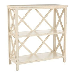 Safavieh Cooper Bookcase - Distressed Ivory - Or, if your space is limited, how about this two-shelf unit? It could also function as a table if space is at a premium.