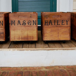 Personalized Rolling Crate by Looney Bin Trading Co. - These handmade personalized crates make great book bins.